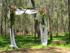 Be bold and let the ceremony arbour reflect your personality camp South Coast Nsw, Arbour, Draping, Special Day, Wedding Ceremony, Backdrops, Wedding Flowers, Personality, Floral