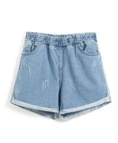 High Waist Denim Shorts With Rolled Hem