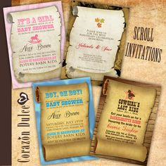 Scroll Invitations - templates for birthday parties and invitations.