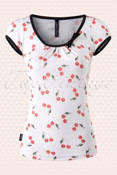 Sassy Sally - 50s Leona Cherry Art Top in White and Red