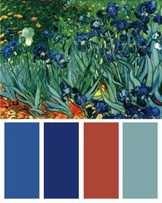 Color Palette inspired by Vincent van Gogh's Irises in the Garden.  http://blog.bandagedear.com/2012/05/color-palettes-for-home-decorating-inspired-by-vincent-van-gogh/