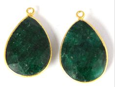 2 Pcs Natural Dyed Emerald 16X24mm Pear Shape Gemstone 24k Gold Plated Connector #Raagarw