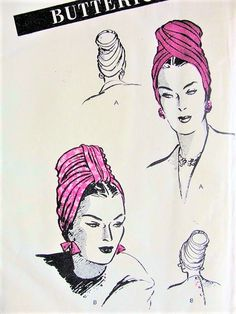 40s DRAMATIC Draped Turban Hats Pattern BUTTERICK 3251 Graceful High Turbans 2 Styles Day or Evening Vintage Sewing Pattern Factory Folded