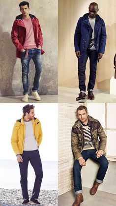 Men's Ways To Layer Between Summer & Autumn: Raincoat + Sweatshirt Layering Combination Outfit Inspiration Lookbook