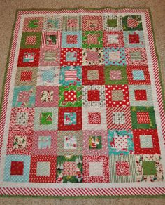 You will only need yard of each print. For this quilt I cut a bunch of squares from my yards, and then cut them up using THIS technique from Allison over at Cluck Cluck Sew.she is awesome-ness. Christmas Tree Quilt, Christmas Quilt Patterns, Christmas Mom, Christmas Sewing, Christmas Fabric, Christmas Quilting, Christmas Blocks, Christmas Applique, Xmas