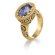 Alex Sepkus Sapphire and Diamond Ring in 18k Yellow Gold - Lux Bond & Green