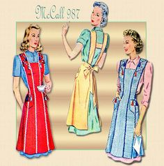 Vintage McCall Three Ladies Apron Pattern 987. For those days when I stay home and do housework. When exactly is that?