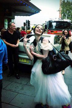 Marie-Agnes Gillot outside the Capitol Theatre after the fire alert! © POB Australian Tour.