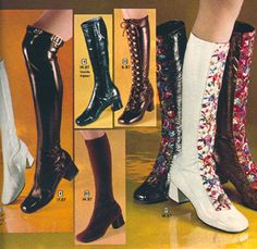 An assortment of early 1970s boots. Clockwise, from left: crinkle vinyl slip-ons in knee and over-the-knee lengths; crinkle vinyl with inside zipper; lace-up crinkle vinyl; embroidered crinkle vinyl; slip-on suede.