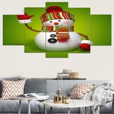Canvas Wall Art Paintings Christmas Happy Holidays Patterned