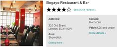 50% OFF Food @ Bogayo Morrocan Restaurant & Bar Shoreditch London EC1  http://www.toptable.co.uk/bogayo-restaurant-and-bar