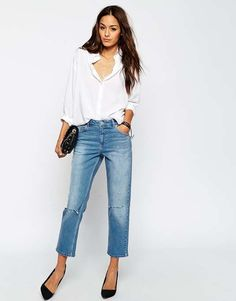 ASOS Thea Midrise Girlfriend Jeans in Miami Vintage Blue with Displaced Knee Rips $68 #TheGirlfriendJean