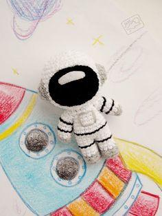 Crochet Toys MADE TO ORDER - Astronaut, Cosmonaut, handmade crocheted amigurumi plush toy, space - Kawaii Crochet, Cute Crochet, Crochet Crafts, Easy Crochet, Crochet Baby, Crochet Projects, Knit Crochet, Yarn Crafts, Crochet Patterns Amigurumi