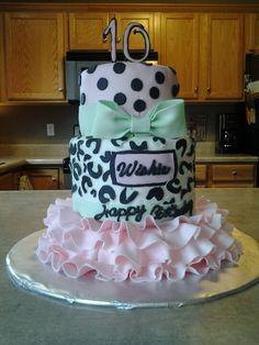 White Velvet cake, cream cheese frosting, marshmellow fondant.  Girly birthday cake.
