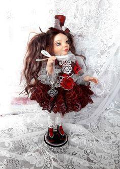 Купить Авторская интерьерная куколка Агата. - бордовый, авторская ручная работа, авторская игрушка