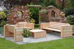 Loungemöbel Gartenmöbel Set aus wetterfestem Holz - Douglasie.
