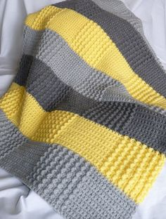 Crochet Gray Yellow Blanket (Double crochet and sedge stitch? I love the colors and textures: Crochet Gray Yellow Baby Blanket Phillips-Barton Newnham love the patchwork effect of color changes + stitch texture changes without having to piece everything t Baby Blanket Crochet, Crochet Blanket Patterns, Crochet Baby, Knitting Patterns, Knit Crochet, Double Crochet, Free Crochet, Bunny Blanket, Chevron Crochet
