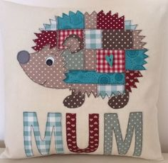 Handmade Hedgehog Personalised Appliqué Cushion Pick Colours/Name Unique Gift | eBay