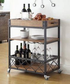 "Could imagine cart being for ""house wine""--- stock with wine, wine glasses, bottle opener, big bowl with objets in it"
