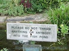PLEASE DO NOT THROW ANYTHING OR ANYBODY INTO THE FISH POND. (he had only 1 job an that was to put 9 words on sign, stupid)