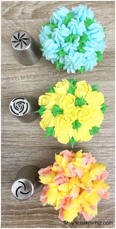 Use this Russian piping tips tutorial to make beautiful buttercream frosting flowers on cakes and cupcakes. Easy cake decorating technique for beginners. Russian Decorating Tips, Creative Cake Decorating, Cake Decorating Techniques, Cake Decorating Tutorials, Creative Cakes, Frosting Techniques, Frosting Tips, Russian Icing Tips, Cupcakes Flores