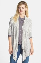 Two by Vince Camuto Mélange Jersey Drape Front Cardigan