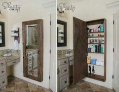 Funkar både i badrum, sovrum och hall. Förvaring av saker som kräver spegel för användning.
