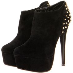 Rochelle Studded Back Suedette Shoe Boots (€53) ❤ liked on Polyvore featuring shoes, boots, ankle booties, heels, sapatos, zapatos, heeled booties, platform booties, chunky heel booties and booties