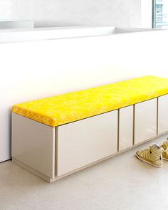 The Schoenbuch Stripes Bench is available now Hall Furniture, Modern Furniture, Furniture Design, Wardrobe Systems, Large Sideboard, Modular Storage, Poufs, Leather Cover, Ottomans