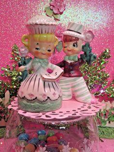 Vtg ENESCO SWEET SHOPPE Cupcake Candy Boy & Girl Belle & Beau W PINK FLOWERS | eBay