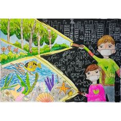 Painting For Kids, Drawing For Kids, Painting & Drawing, Art For Kids, Oil Pastel Drawings, Girly Drawings, Energy Conservation Poster, Kindergarten Art Lessons, School Murals