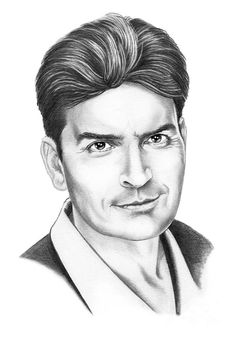 Charlie Sheen by Murphy Elliott ~ traditional pencil art