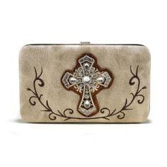 Alyssa Rhinestone Cross Frame Wallet