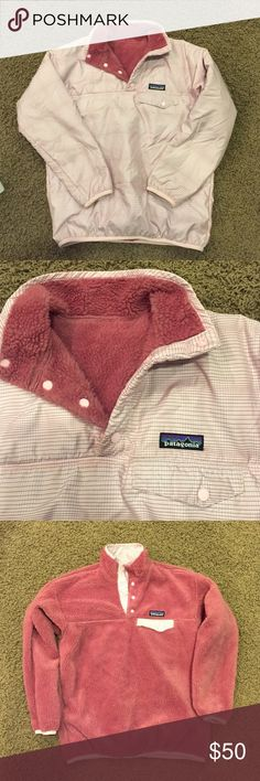 Patagonia Pullover Patagonia reversible pullover, this is amazing and fashionable at the same time, small line plaid detail on one side fuzzy fleece on the other, snap closure all the way up neck, upper pocket with Patagonia tag on each side to reverse, excellent condition! This is a girls 18 but can fit womens XS/Small Patagonia Jackets & Coats