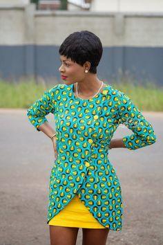 Inspiration - Blazer en pagne par Tracy - Pagnifik Plus African Print Dresses, African Wear, African Attire, African Women, African Dress, African Style, African Prints, African Inspired Fashion, African Print Fashion