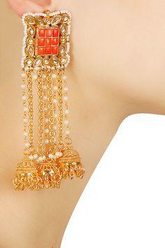 Gold finish orange takkar stone fringe earrings available only at Pernia's Pop…