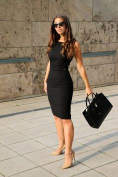 """The source for fashion inspiration from real people around the world. Community """"hype"""" promotes looks to the front page. Little Black Dress Outfit, Black Dress Outfits, Classy Outfits, Trendy Outfits, Fashion Outfits, Black Office Dress, Black Dress With Heels, Business Dresses, Business Outfits"""
