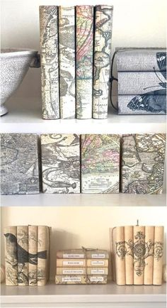 Restoration hardware inspired painted books diy rock stars this vintage book set with decorative map covers is a great way to add interest to your home decor four vintage books are given new life with this solutioingenieria Gallery
