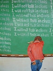 writing on the chalkboard as punishment