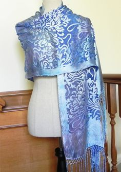 Hand dyed Devore satin shawl in blue and lilac by RosyDaysScarves