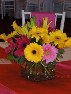 Yellow and pink centerpieces