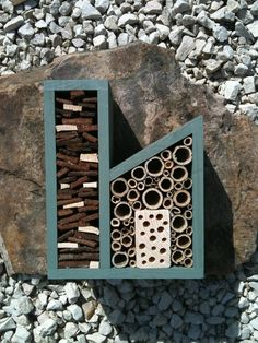 Very cool! The Insect Factory. Designed to encourage pollinating bees & other good-for-your-garden insects.