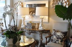 Stone #console with #draped designed #table #lamps and #orchid at #PalmBeach #Mecox #interiordesign #MecoxGardens #furniture #shopping #home #decor #design #room #designidea #vintage #antiques #garden