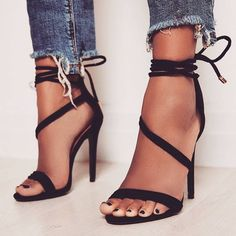 'Island' Asymmetric Lace Up Heels