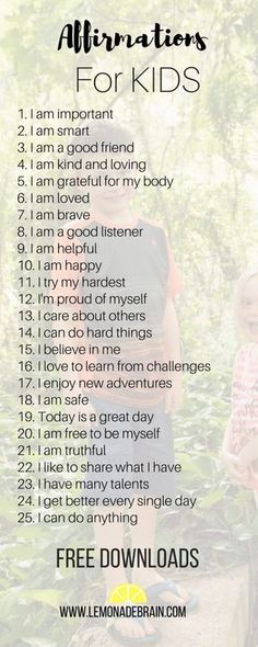 Teaching our children to use affirmations at a young age can help foster positive self-image, self worth and confidence. Here are 25 awesome affirmations for kids. Parenting Advice, Kids And Parenting, Gentle Parenting, Natural Parenting, Peaceful Parenting, Parenting Classes, Foster Parenting, Parenting Quotes, Education Positive