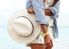 stripes & florals w/a hat & a big fat gold watch!