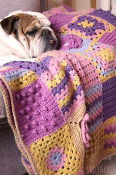 Sweet & Knit: Crochet Sampler Blanket - made from pattens in Jan Eaton 200 Crochet Blocks
