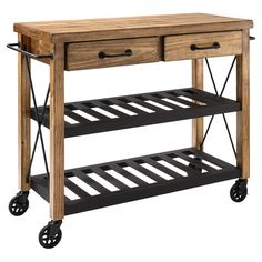 Showcasing 2 open shelves and casters for versatility, this essential kitchen cart features 2 spacious drawers and 2 convenient towel bars.