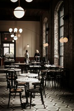 wythe hotel and reynard restaurant williamsburg, ny Commercial Interior Design, Commercial Interiors, Cafe Bar, Hotel Boutique, Wythe Hotel, Restaurants, French Bistro, Lokal, Luminaire Design