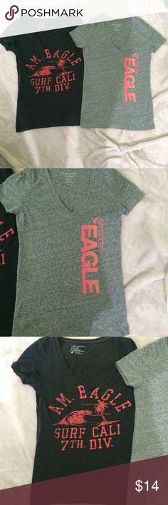 Bundle of 2 American eagle shirts Cute bundle of 2 American eagle shirts, both XS but could fit a S also American Eagle Outfitters Tops Tees - Short Sleeve